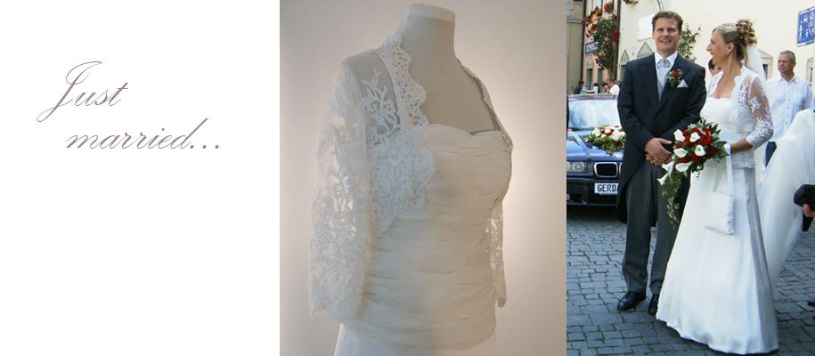 Modelliertes Brautkleid mit Spitzenbolero